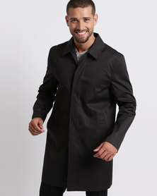 New Look Button Front Mac Coat Black
