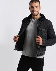 New Look Borg Lined Denim Jacket Black