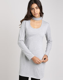 Utopia Rib Choker Knit Top Grey