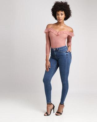 901941b0717 New Look Mesh Lace Cold Shoulder Bodysuit Pink
