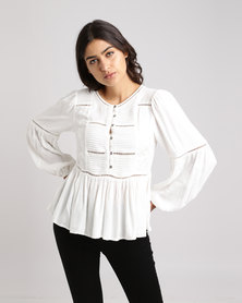 New Look Floral Embroidered Ladder Trim Blouse