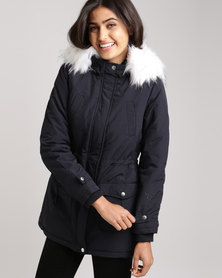 New Look Faux Fur Trim Hooded Parka Navy