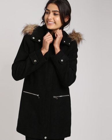 630b9cbb2 New Look Faux Fur Trim Hooded Duffle Coat Black | Zando
