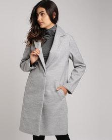 New Look Longline Collared Coat Grey