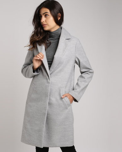 New Look Longline Collared Coat Grey