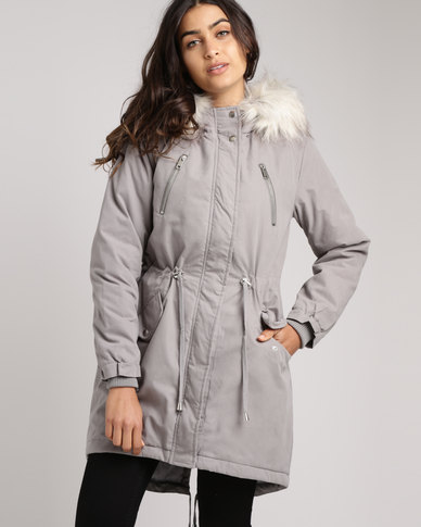 New Look Faux Fur Trim Hooded Fishtail Parka Grey