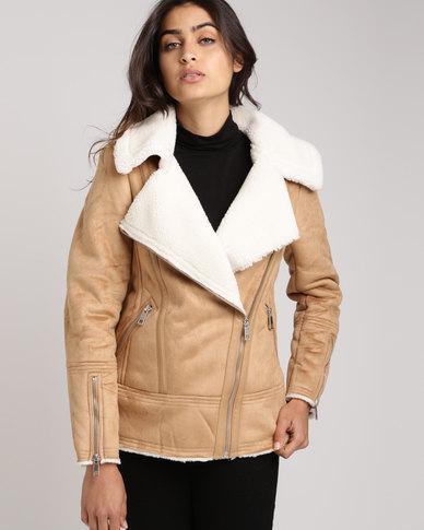 New Look Faux Fur Shearling Biker Jacket Tan Zando