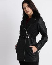 New Look Black Contrast Panel Faux Fur Collar Biker Jacket Black