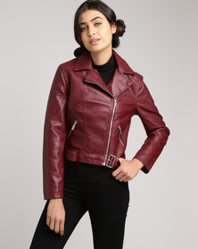 New Look Leather-Look Cropped Belted Biker Jacket Burgundy