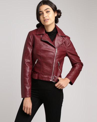 New Look Leather Look Cropped Belted Biker Jacket Burgundy Zando