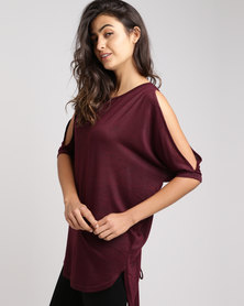New Look Fine Knit Lace Up Back Oversized Top Burgundy