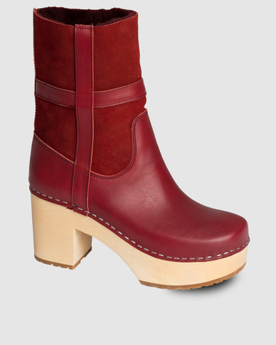 Swedish Hasbeens Hippie-Low Boots Wine Red