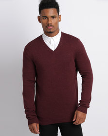 New Look Cotton V Neck Jumper Burgundy