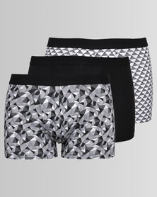 New Look 3 Pack Geo Print Trunks Black