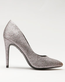 New Look EC Yummy Glitter Pointy Heels Silver