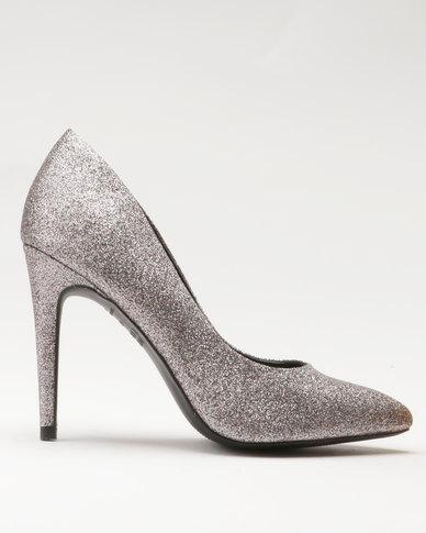 New Look EC Yummy Glitter Pointy Heels Silver