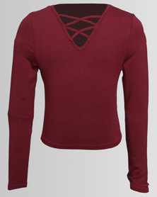 New Look Double Lattice Front Long Sleeve Top Burgundy