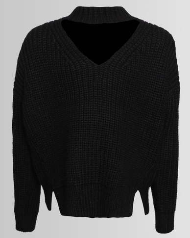 New Look Chunky Choker Fisherman Jumper Black