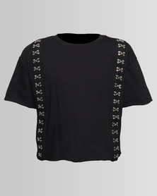 New Look Crop Hook And Eye Tee Black