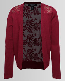 New Look Lace Back Cardigan Burgundy