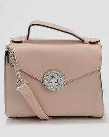 New Look Brooch Front Mini Top Handle Bag Nude