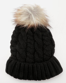 New Look Faux Fur Pom Pom Bobble Hat Black