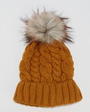 New Look Faux Fur Pom Pom Bobble Hat Yellow