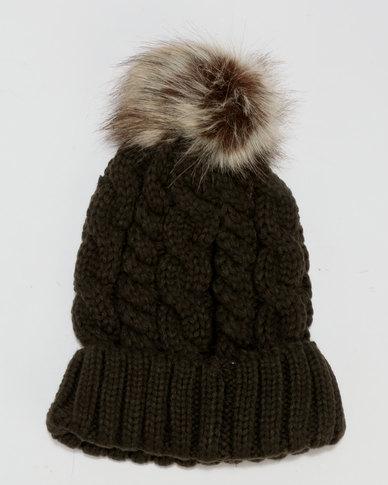 New Look Faux Fur Pom Pom Bobble Hat Khaki  598021dc998