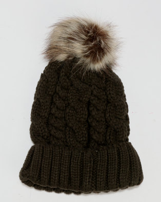 New Look Faux Fur Pom Pom Bobble Hat Khaki