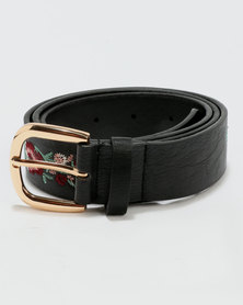 New Look Embroidered Belt Black Floral