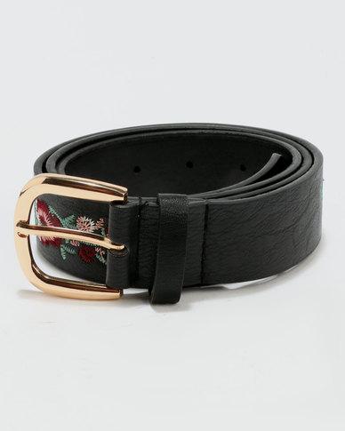 New Look Embroidered Belt Black Floral