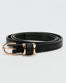 New Look Leather-Look Skinny Belt Black