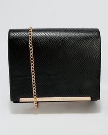 New Look Faux Snakeskin Panel Crossbody Box Bag Black
