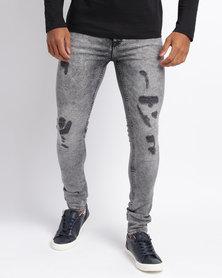 New Look Super Skinny Jeans Black Acid Wash