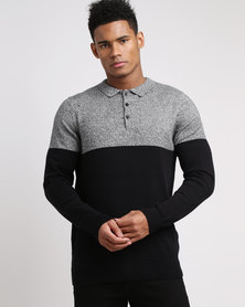 New Look Black Colour Block Long Sleeve Polo Top