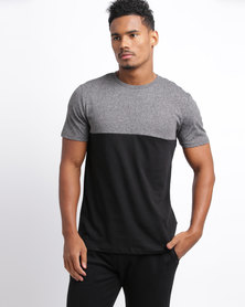 New Look Grey Colour Block T-Shirt