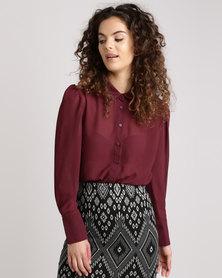 New Look Chiffon Long Sleeve Shirt Burgundy
