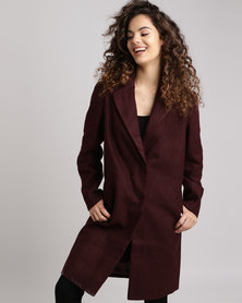 New Look Revere Collar Jacket Burgundy