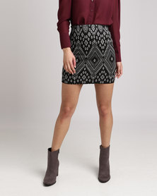 New Look Jacquard Mini Skirt Black