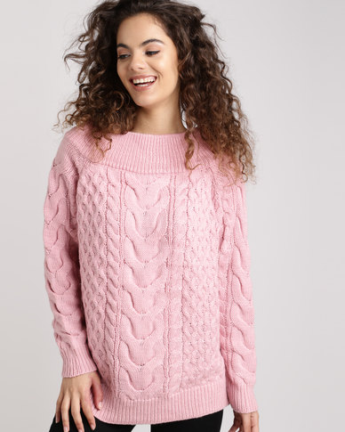 New Look Cable Knit Bardot Neck Jumper Pink