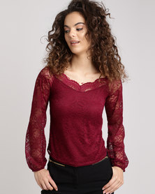 New Look Lace Sweetheart Neck Top Burgundy