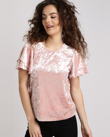 New Look Velvet Tiered Sleeve Top Pink