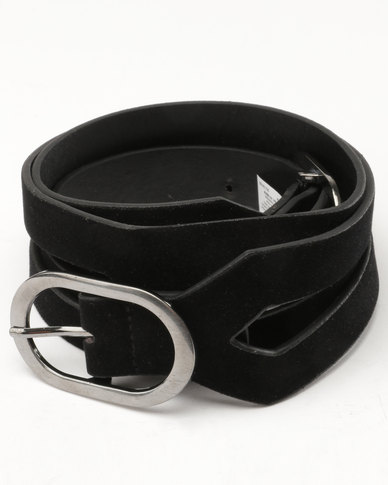 New Look Double Buckle Velvet Waist Belt Black