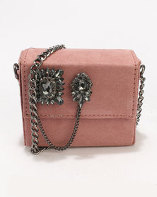 New Look Embellished Micro Cross Body Bag Shell Pink