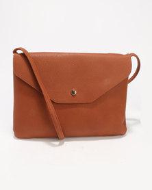 New Look Foldover Cross Body Bag Brown