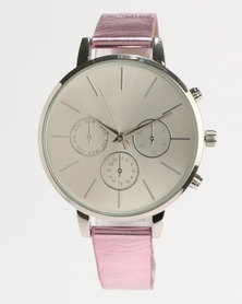 New Look Metallic Strap Watch Pink