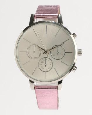 New Look Metallic Strap Watch Pink
