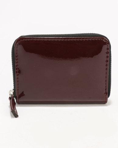 New Look Patent Zip Around Cardholder Burgundy