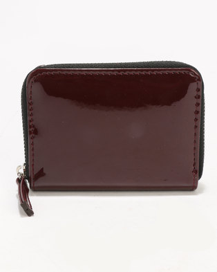 New Look Patent Zip Around Cardholder Burgundy