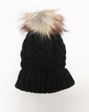 New Look Cable Faux Pom Bobble Beanie Black